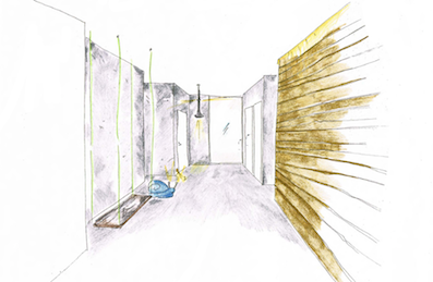 Sketch of communal entrance at The Apartments N5