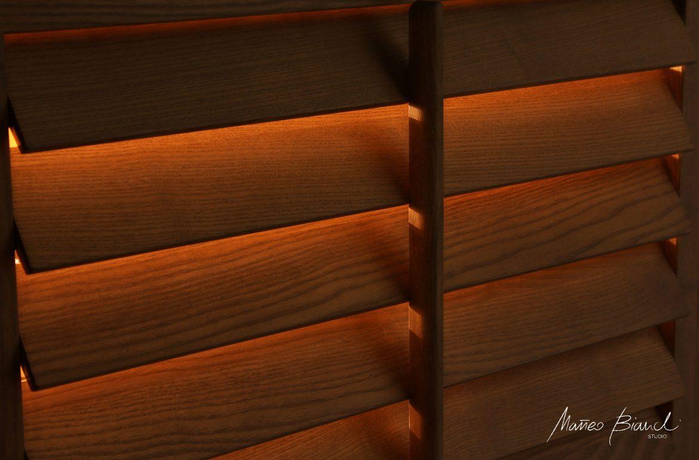 backlit cupboard wood shutters design London