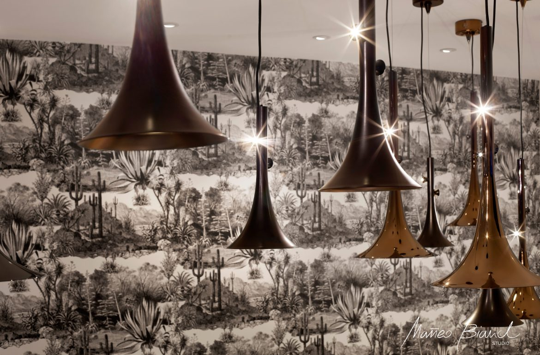 baffo lights cactus wallpaper office design