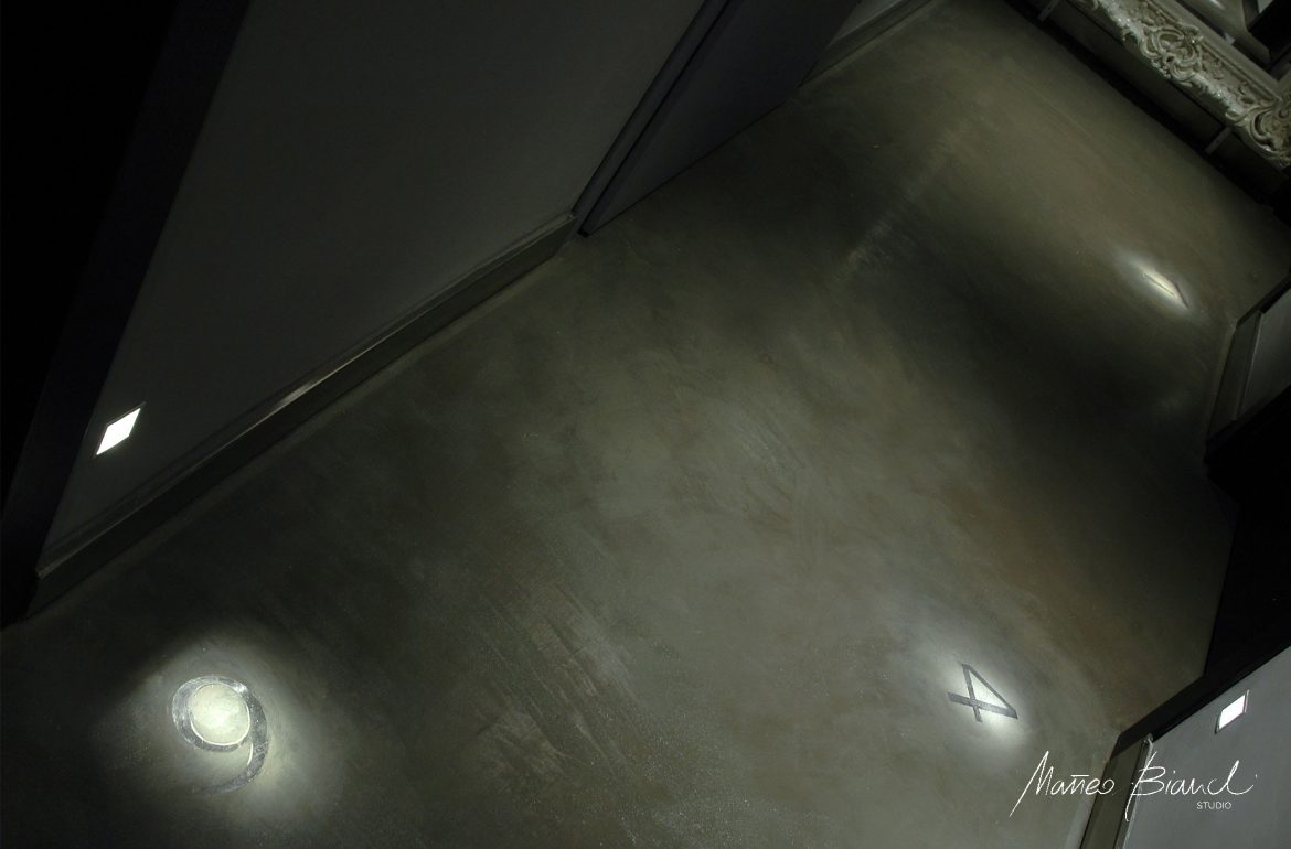 light design hotel hallway concrete floor design
