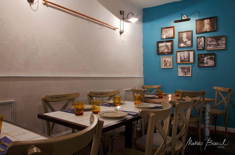 blue turquoise Italian vintage restaurant London