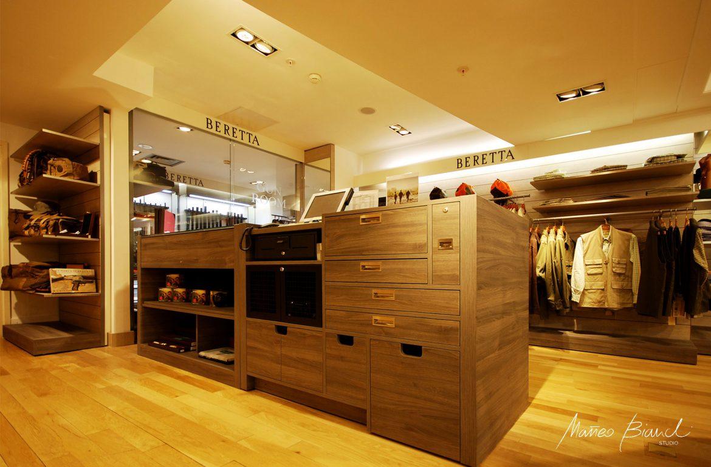 timber bespoke counter shop light design