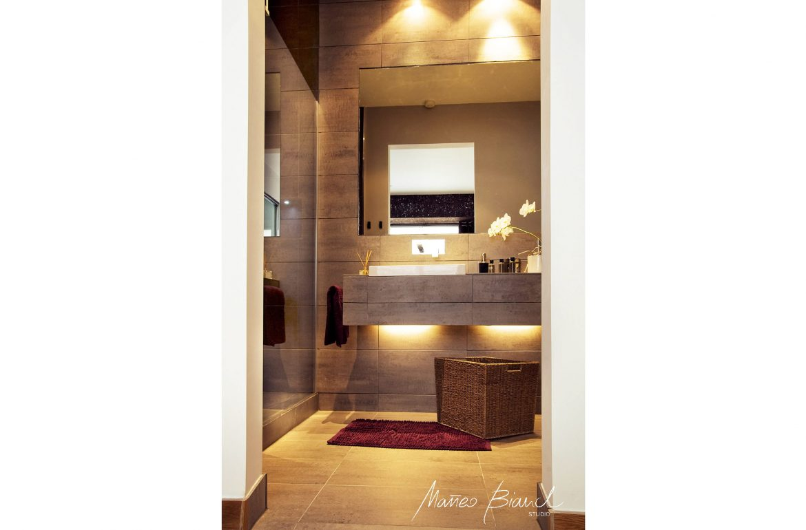 bathroom under sink lights design grey tiles