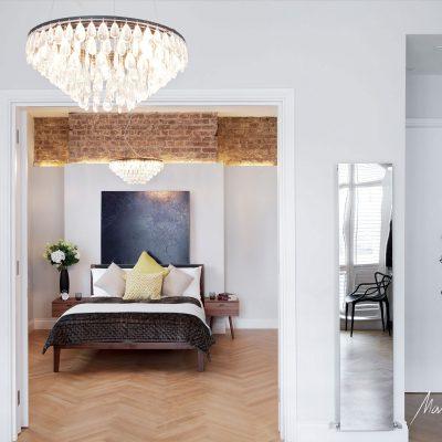 Matteo Bianchi bedroom crystal light Baker Street interior
