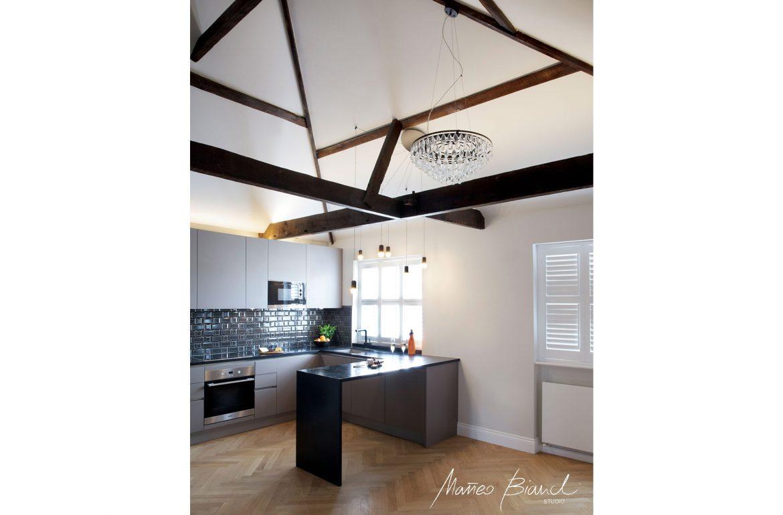 white timber roof luxury kitchen design