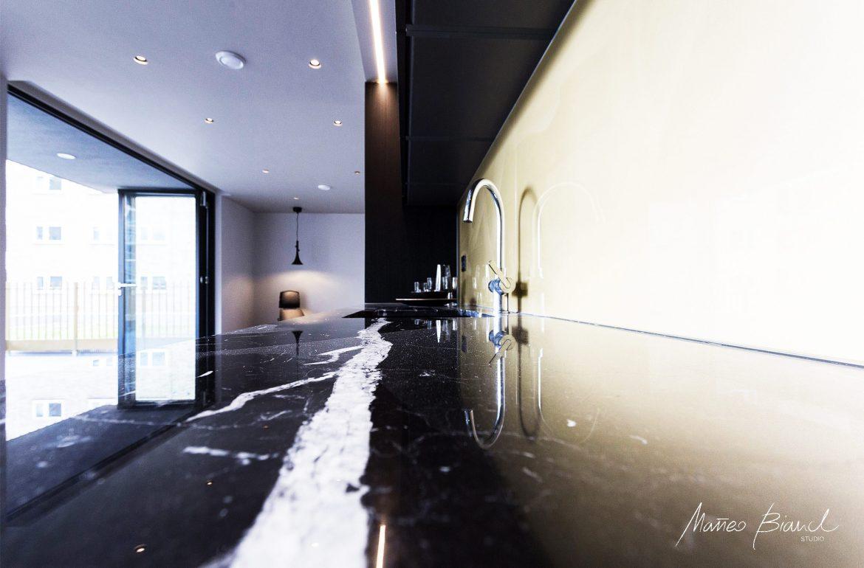 luxury kitchen top black white marble design
