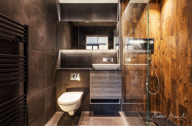 timber bathroom, interior design, grey tiles