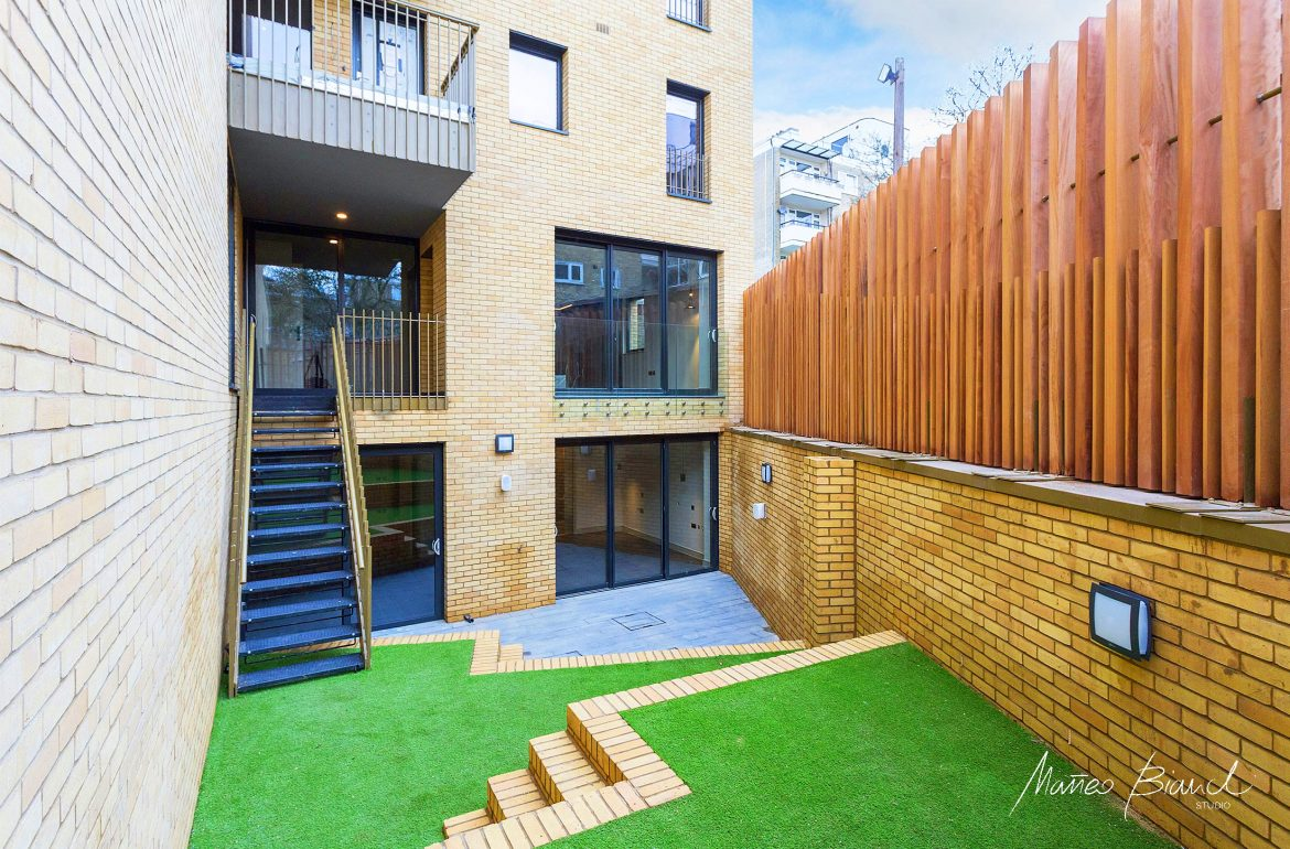 stairs multi level garden design wood fence