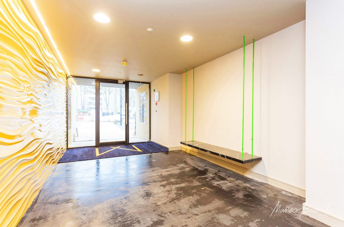 yellow, wall, hall, interior, Highbury, development, green bench