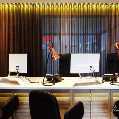 yellow led white desk interior design