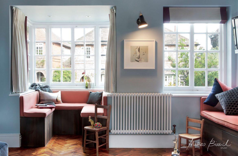 Muswell Hill bow window sofa interior design Bianchi