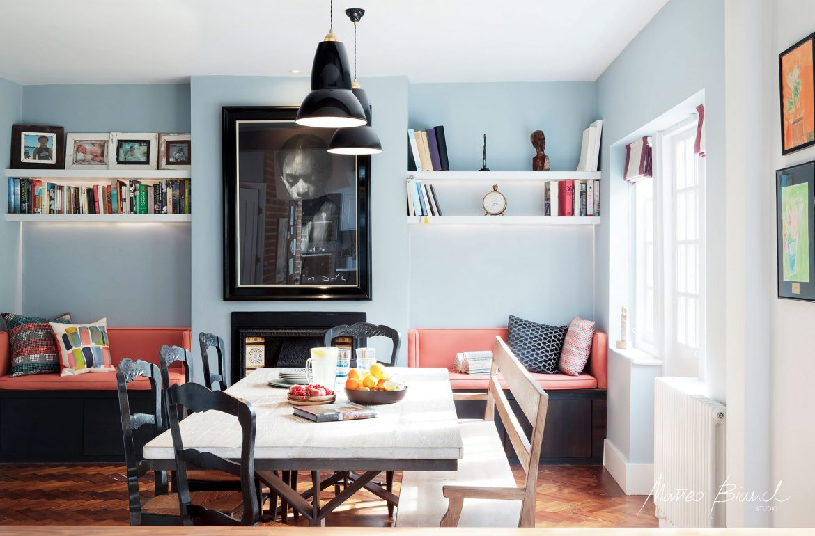 Muswell Hill light blue living room interior design
