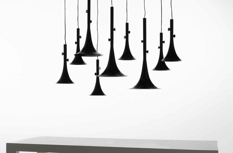 Matteo Bianchi baffo lamp trumpet black design