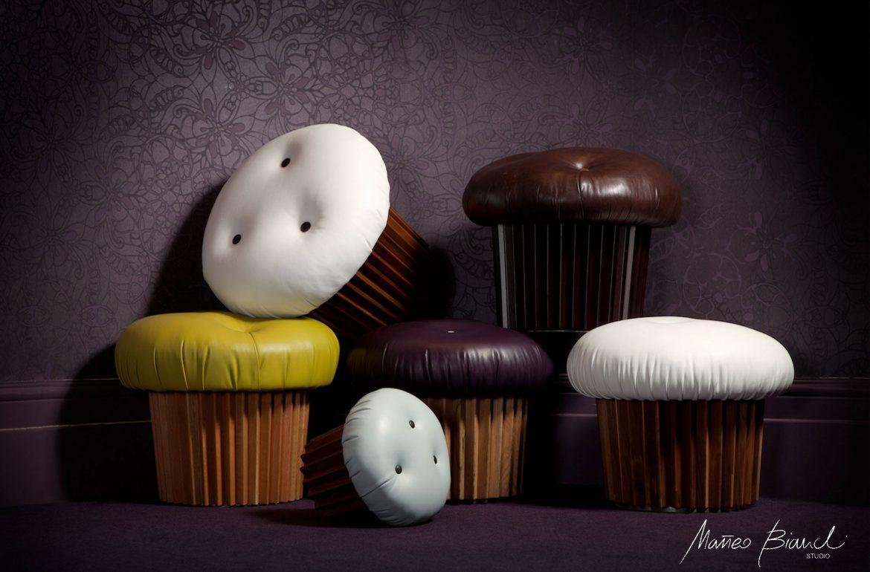 British muffin pouffe bespoke design Matteo Bianchi