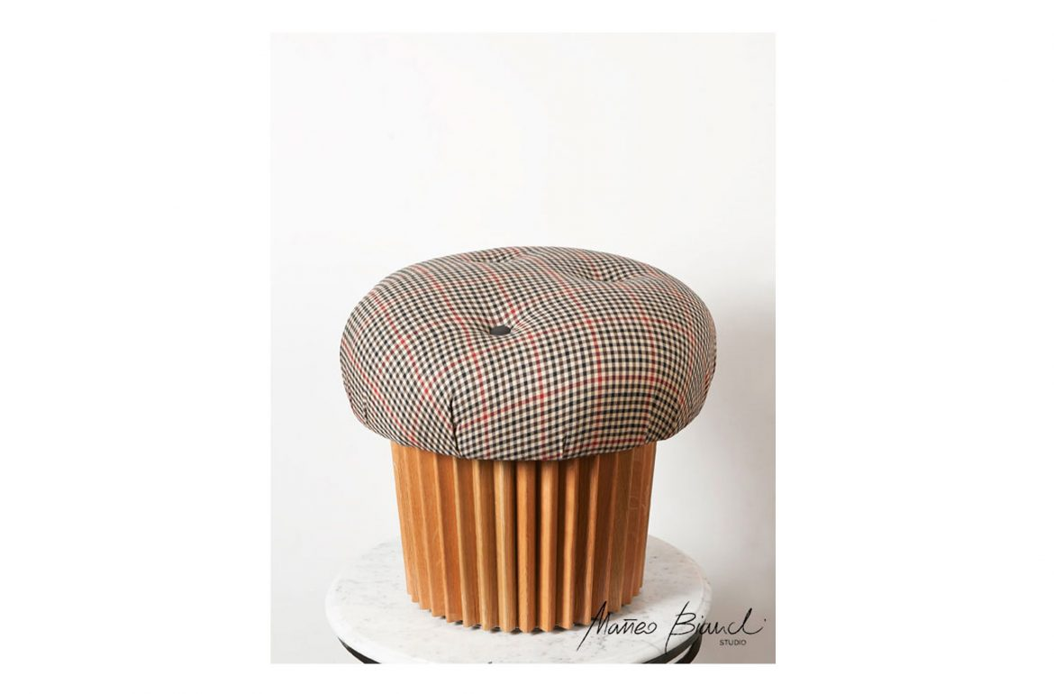 muffin pouffe British fabric design Matteo Bianchi