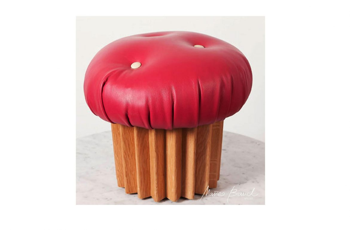 muffin pouffe pink timber design Matteo Bianchi